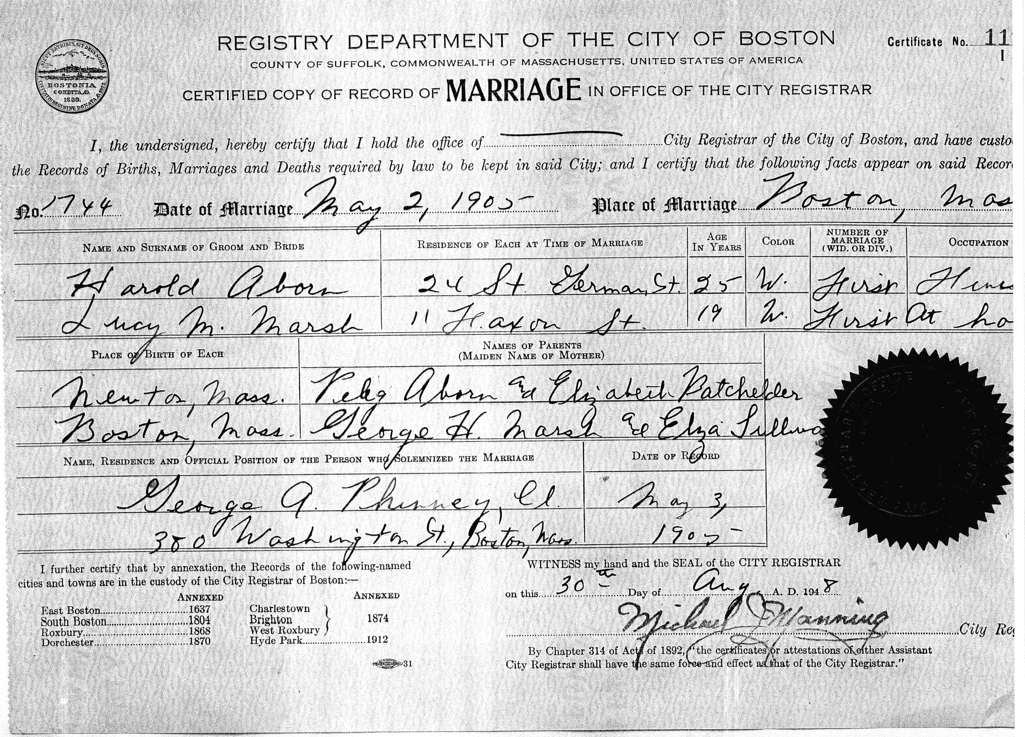 Harold keith aborn 1880 1951 1905 may 2 harold aborn and lucy marsh marriage certificate boston ma aiddatafo Image collections